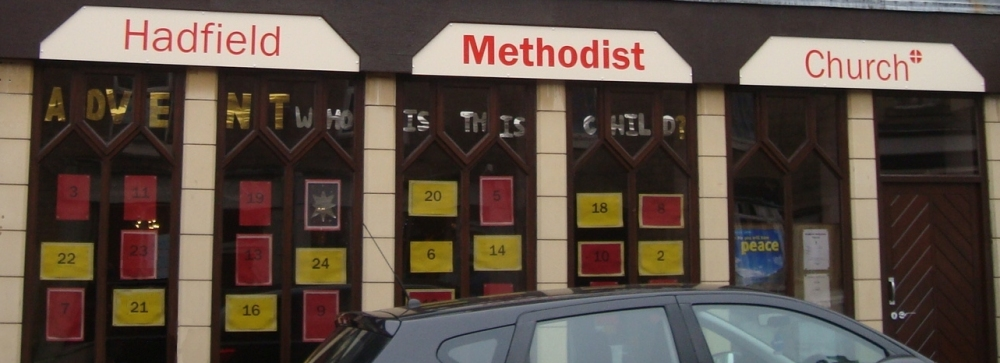 Hadfield Methodist Church's Advent Window display